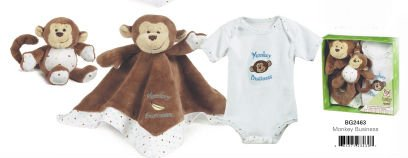 Ganz Baby Gift Set Monkey Blanket, Rattle & Bodysuit 3-6 Months