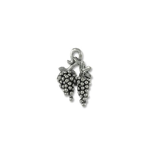 Charm for Jewelry Making - Grapes 17x12mm Pewter Antique Silver Plated (1-Pc)