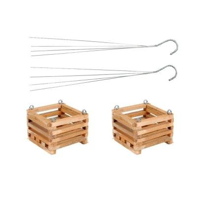 Wooden Square 6'' Hanging Basket Set of 2 by Better-Gro