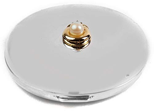Silver Round Compact Mirror - Modern and Minimal 1:3x Magnified Compact Double-Sided Mirror (Round Flat Silver With Pearl)