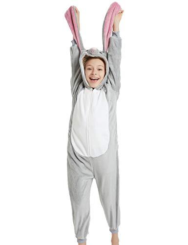 Animal Onesie Kids Unisex Onepiece Pajamas Halloween Cosplay Party Costume Loungewear Grey Rabbit Bunny S