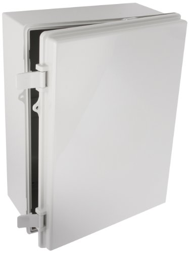 BUD Industries NBB-15247 Style B Plastic Outdoor NEMA Box with Solid Door, 15-43/64' Length x 11-23/32' Width x 6-19/64' Height, Light Gray Finish