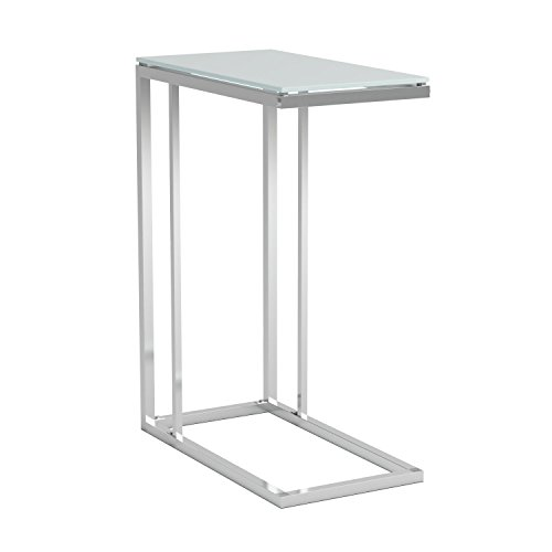 Glass Top Snack Table Chrome and White by Coaster Home Furnishings (Image #2)