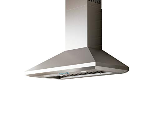 Elica ELN136S1 Leone 1200 CFM 36 Inch Wide Wall Mounted Range Hood with Hush Sound Suppression System