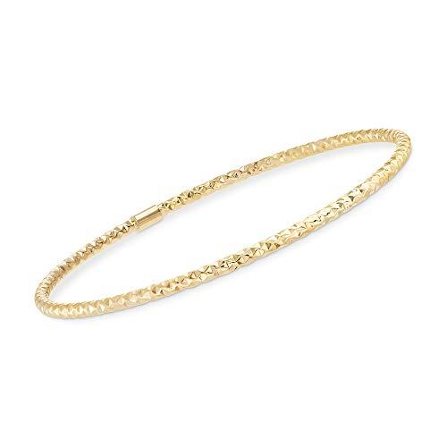 Ross-Simons Certified Italian 14kt Yellow Gold Faceted Bangle Bracelet