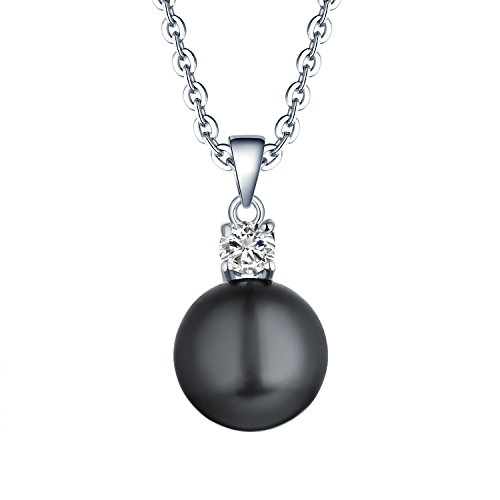 925 Sterling Silver Black Freshwater Cultured Pearl Pendant Necklace JO WISDOM Jewelry for Women,Girls