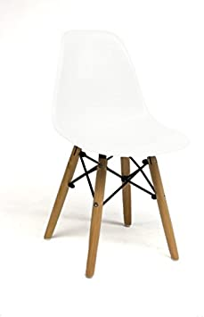 Oui Home - Silla Tower Wood Kids Blanca y Patas Madera para niños