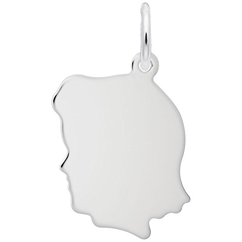 Rembrandt Charms, Small Girl Silhouette, 14K White Gold, Engravable