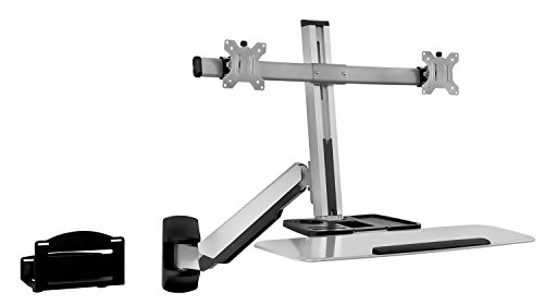 Mount-It! Sit Stand Dual Monitor Wall Mount Workstation & Stand Up Computer Station with Articulating Keyboard Tray Arm…