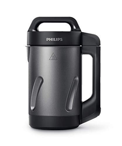 Philips Kitchen Appliances Philips Soup Maker, Makes 2 – 4 Servings, HR2204/70, 1.2 Liters, Black and Stainless Steel