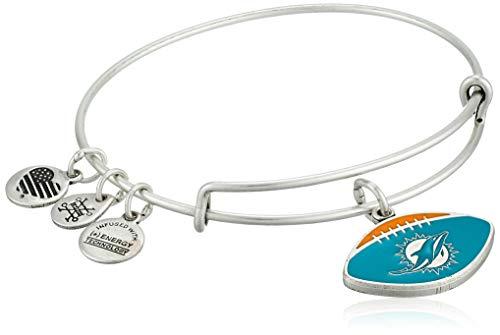 Alex and Ani Women's Color Infusion Miami Dolphins Football II EWB Bracelet, Rafaelian Silver, Expandable - Miami Dolphins Womens Watches