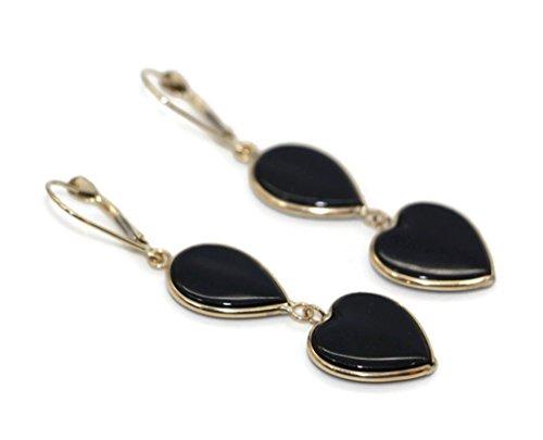 Onyx Black Double Hanging Earrings set in 14K Yellow Gold,Leverbacks ()