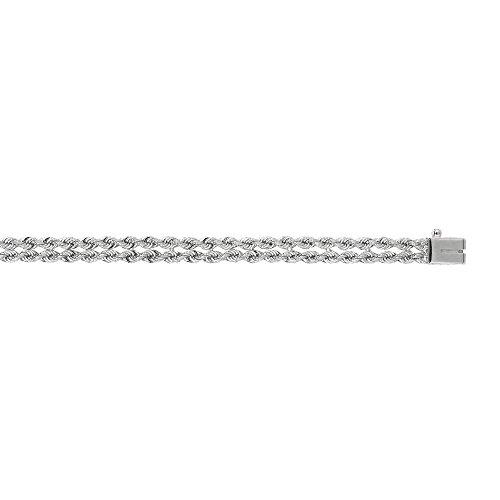 """Blanc 14 carats 5 mm, deux rangées avec corde solide Bracelet-JewelryWeb 7 """""""