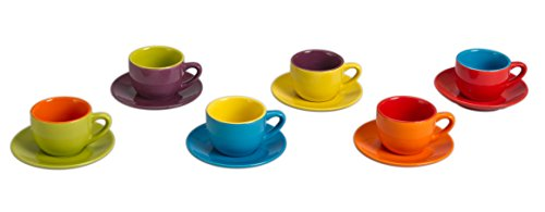 Set of 6 Espresso Cups & Saucers Assorted Colours