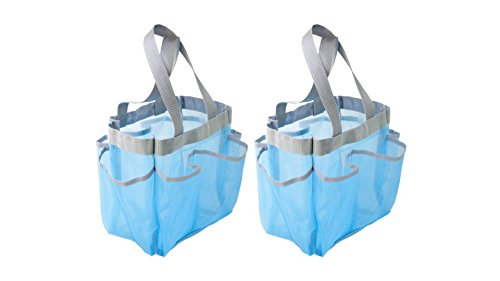 Great for travel 6-Pocket Breathable Mesh Fabric Shower Caddy,2-Pieces (Blue) - 4 Tier Oval Shelf Cart