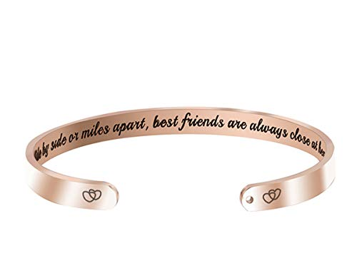 Hiamago Side by Side Or Miles Apart Best Friends are Always Close at Heart Premium Stainless Steel Cuff Bangle Bracelet Long Distance Friendship Gifts (Rose Gold)