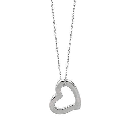 Finejewelers 14K White Gold Open Heart Pendant Necklace on a 18 Inch Chain