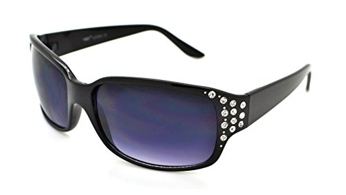 VOX Trendy Classic Womens Hot Fashion Rhinestones Sunglasses w/FREE Microfiber Pouch - Black Frame - Smoke Lens