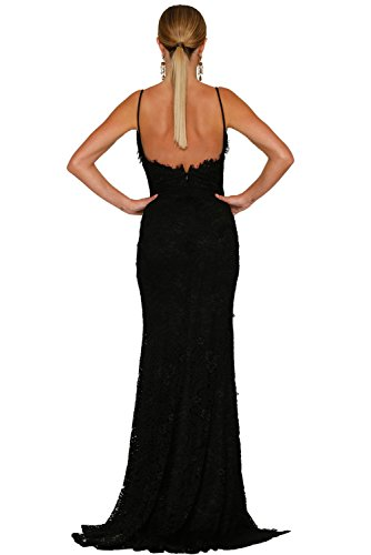 Lungo Elegante Con Regolabili Da Spalline Abito Festa vestito Spacco Schiena Party Donna Nero Cerimonia Nuda Sexy E 8XSdxZq8