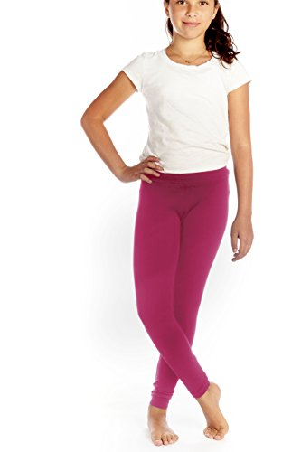 Girls Seamless Solid Color Leggings Fuchsia Pink