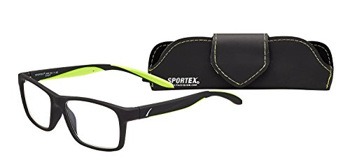 Sportex Reading Glasses Anti-Reflective Square Men's Readers, Green, 2.00