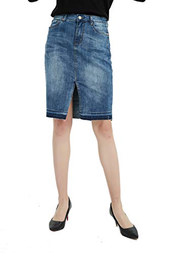 - Tronjori Womens Distressed Stretch Denim Pencil Skirt Frayed Hem(S,Blue)
