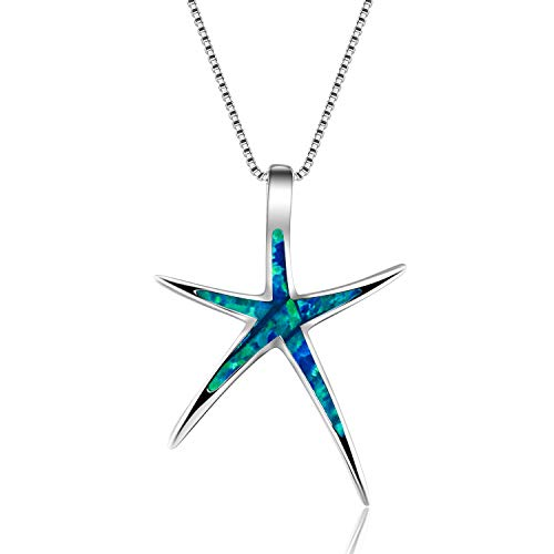 Women's 925 Sterling Silver Earrings and Silver Pendant Starfish Dangling Earrings For Girls Christmas Gifts for Womens Necklace Pendant (Blue Pendant)