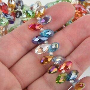 (12mm Crystal Teardrop Briolette Faceted top Drill Mixed Colors, 48 Beads bgl1846 Crafting Key Chain Bracelet Necklace Jewelry Accessories Pendants)
