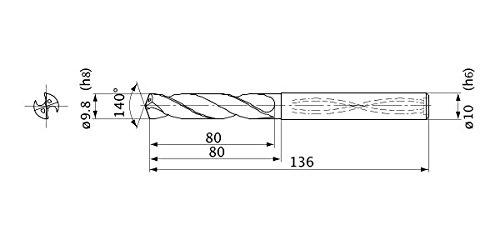 1.8 mm Point Length Internal Coolant 10 mm Shank Dia. 9.8 mm Cutting Dia 5 mm Hole Depth Mitsubishi Materials MVS0980X05S100 MVS Series Solid Carbide Drill
