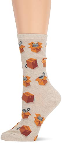 Hot Sox Women's Animal Series Novelty Casual Crew, Cats In Boxes (Natural Melange), Shoe Size: 4-10 (Sock Size: 9-11)