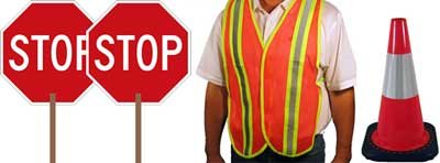 School Crossing Guard Kit - (2) STOP Paddle Signs, (2) Reflective Vests, (3) Reflective Safety Cones ()