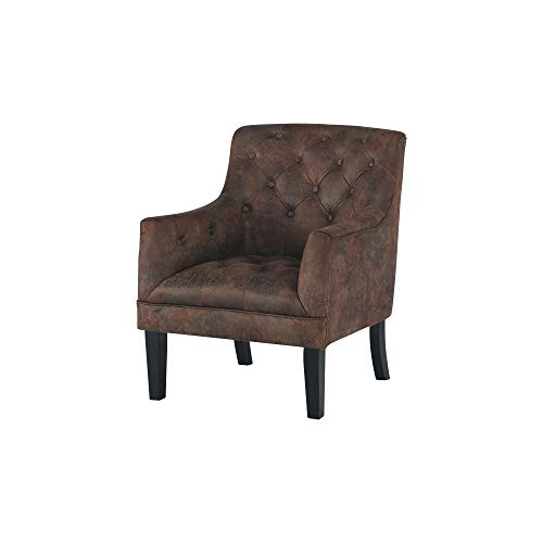 Ashley Furniture Signature Design - Drakelle Accent Chair - Distressed Brown Faux Leather ()
