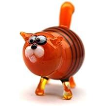 Glass Cat Figurine Hand-Blown Collectible Art Glass Glass Cat Sculpture Glass Cat Figurine Homedecor Murano Art Gifts Miniature Blown Cats