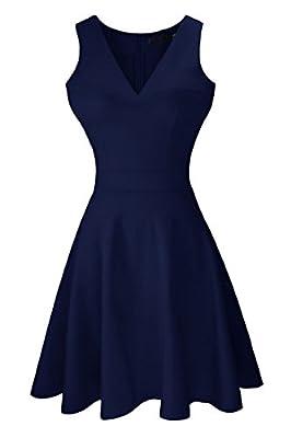 Héloïse de Sy Women's A-Line Sleeveless V-Neck Pleated Little Cocktail Party Dress