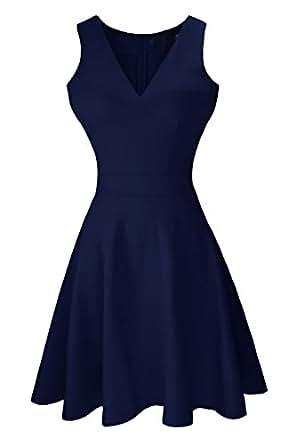 Heloise Women's A-Line Sleeveless V-Neck Pleated Little Navy Cocktail Party Dress (S, Dark Navy)