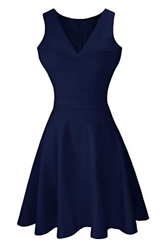 Heloise Women's A-Line Sleeveless V-Neck Pleated Little Navy Cocktail Party Dress (XL, Dark Navy)
