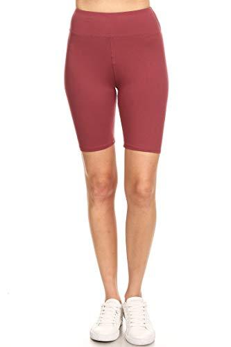 Leggings Mania Women's Regular Size Solid High Waisted Wide Band Bermuda Shorts Maroon OneSize