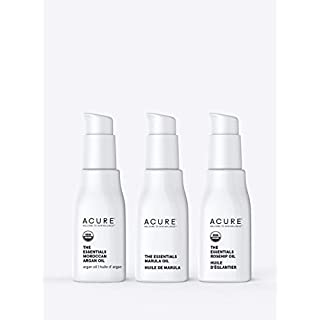 Acure The Essentials Oil Starter Kit - 100% Vegan & For Any Skin & Hair Care Regimen, Includes Moroccan Argan Oil, Marula Oil & Rosehip Oil, 3 Count
