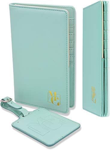 Passport Holder for Women - Passport Wallet RFID Blocking and Luggage Tag Set for Travel - Elegant Gift Box - Sky Green