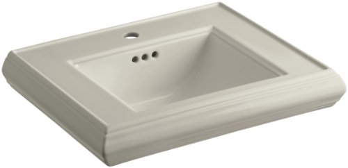 KOHLER K-2239-1-G9 Memoirs Pedestal Bathroom Sink Basin with Single-Hole Faucet Drilling, Sandbar (Basin Lavatory Memoirs G9)