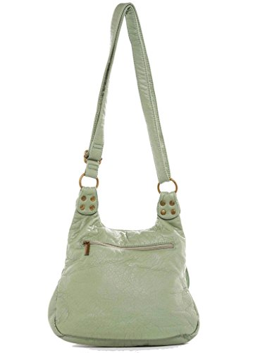 Purse Aria Stonewashed Leather Green Bag Crossbody Seafoam The Medium Faux XPwBSB