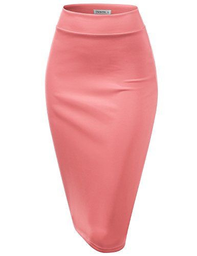 - CLOVERY Pencil Skirts Plus Size Casual Skirt Elastic Waist Band Scuba Streychy Solid Color Coral 3XL Plus Size