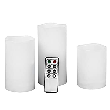 SONGMICS LED Flameless Candles with Remote Control and Timer Waterproof Set of 3 UFLC75D