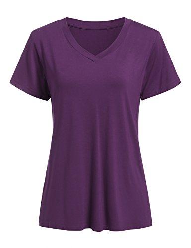 Floerns Women's V Neck Short Sleeve Casual T-Shirt Purple XL