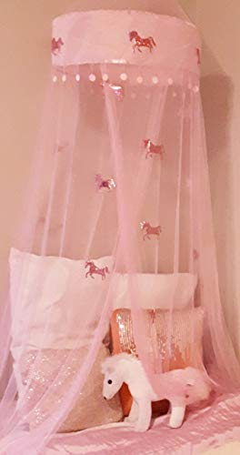 Lil Lills Unicorn Bed Canopy Pink Mosquito Net Curtains - Unicorn Gift & Bedroom décor/Decoration. for Adult, Kids, Toddlers, Little Girl Tween & Teen