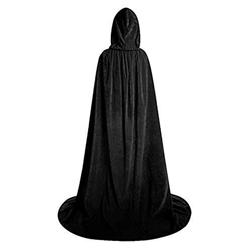 Fafcitvz 66.9 inch Unisex Halloween Cosplay Cloak with Hooded Full Length Velvet Costume Wizard Robe ()