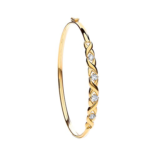 Jewellery World Bague en or jaune 9carats Pierre Transparente Mesdames Bracelet