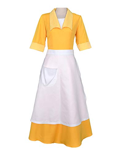 (Cosplay.fm Women's Yellow Waitress Dress Housemaid Cosplay Costume Halloween)
