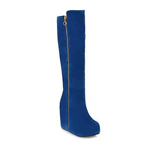 BalaMasa Womens High Heels Knee High Blue PU Knight Boot - 8 B(M) US]()