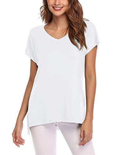 AUPYEO Women's Short Sleeve T Shirt V Neck Loose Tops Casual Tee with Side Split White